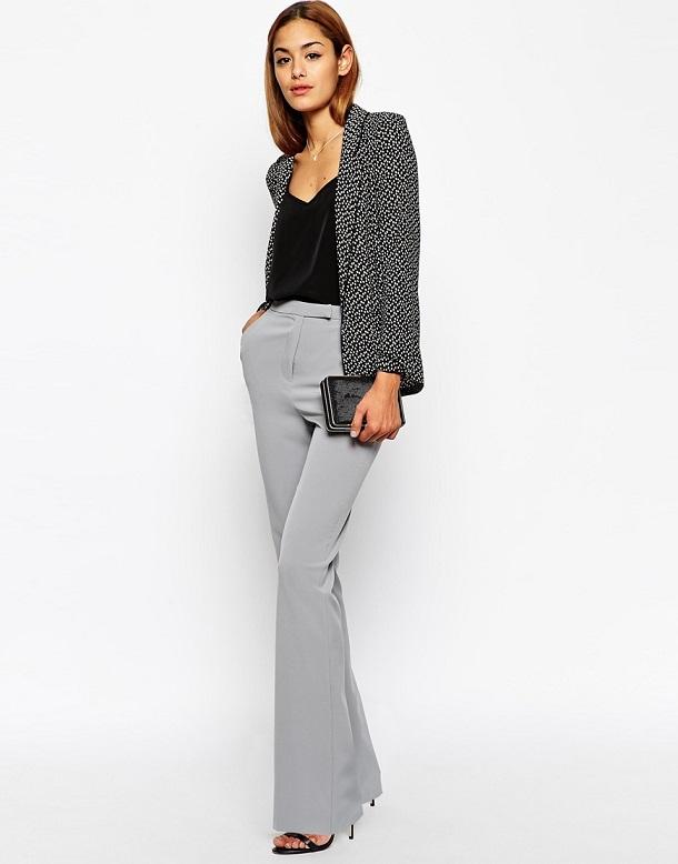 брюки клеш серого цвета