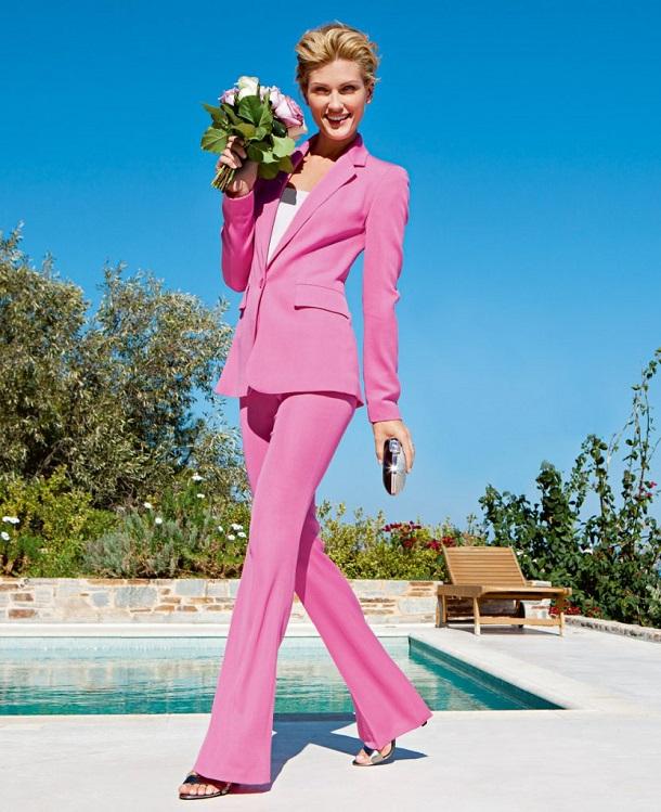 розовые брюки клеш