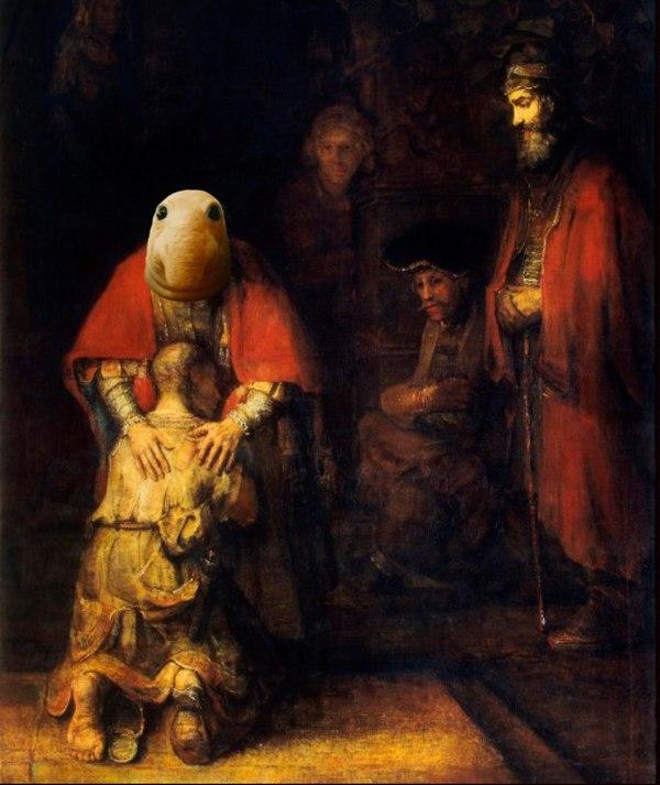 Ждун на картине Возвращение блудного сына»