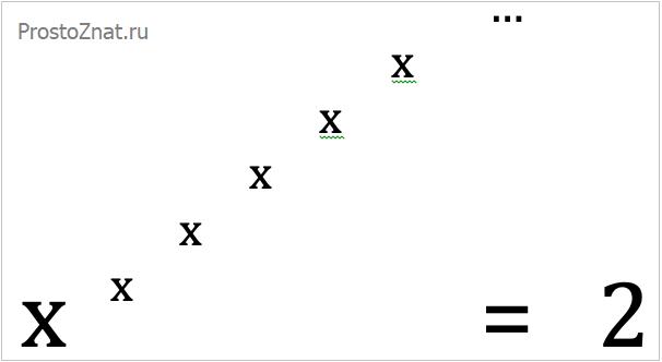 уравнение икс возводим в степень икс бесконечно равно два